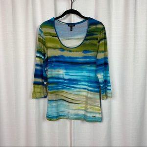 Escada Blue&Green Watercolor 3/4 Sleeve Knit Top